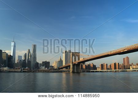 Manhattan Skyline With Brooklyn Bridge.
