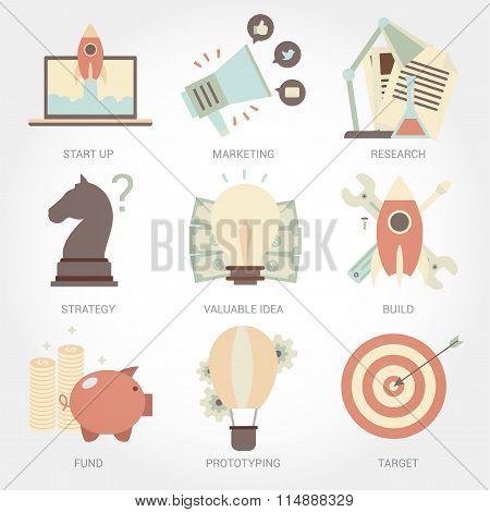 Entrepreneurship flat design icon set