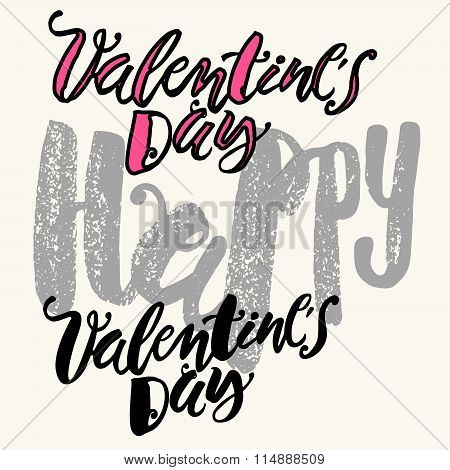 Happy Valentines Day Love Concept Hand Lettering Motivation Poster.