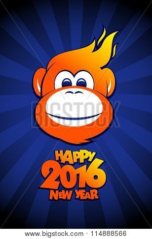 Happy 2016 year fiery monkey card design.