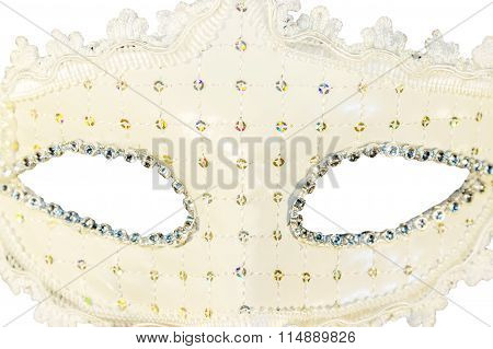 White Carnival Mask Decorations Isolated Background  View Close-up