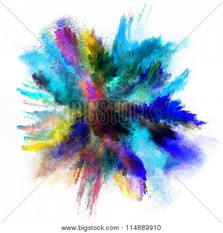 Colored powder isolated on white background