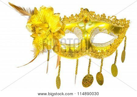 Masquerade Mask Gold Pendants Isolated