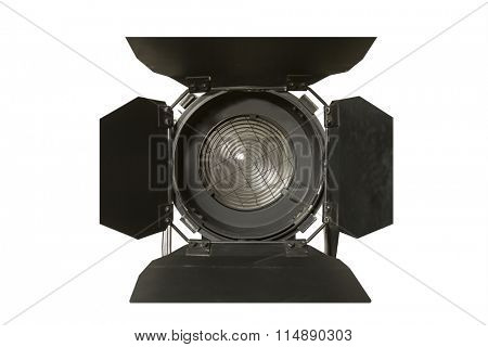 Spotlight fixture used in film and theater productions  isolated on white background