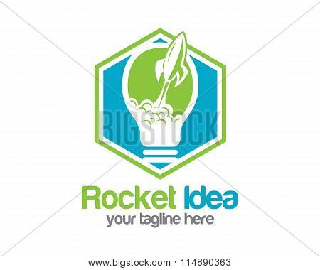 Rocket Idea Logo Design Vector. Bulb Symbol Rocket Icon. Start Up Business And Innovation Concept Ne