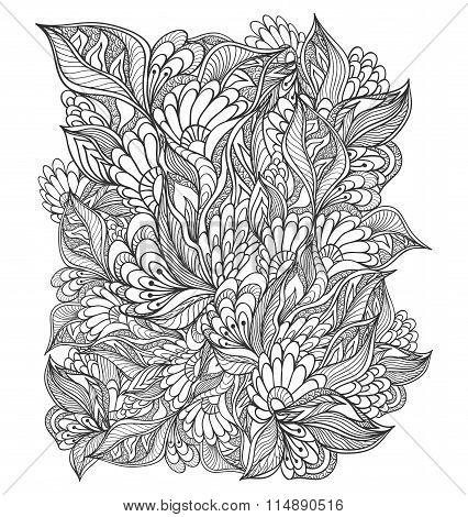 Zen-doodle floral pattern black on white