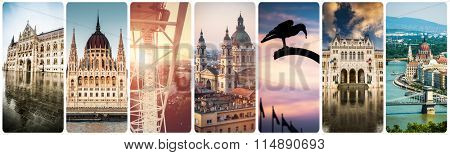 set of beautiful buildings and sights of Budapest at day and evening time
