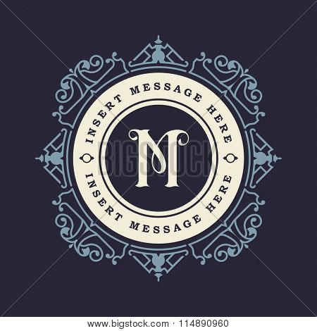 Monogram emblem insignia. Calligraphic logo ornament vector design. Decorative frame for Restaurant Menu, Hotel, Jewellery, Fashion, Label, Sign, Banner, Badge