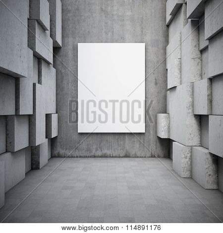 Blank advertising billboard in hall with elements of the concrete cubes. 3d rendering.