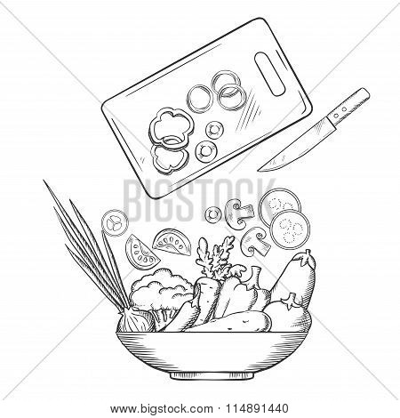 Salad preparation with bowl of fresh vegetables