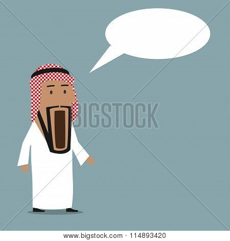 Shocked arab businessman with wide open mouth