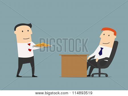Manager giving profit on a silver platter to boss