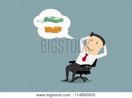 Happy businessman dreaming about money