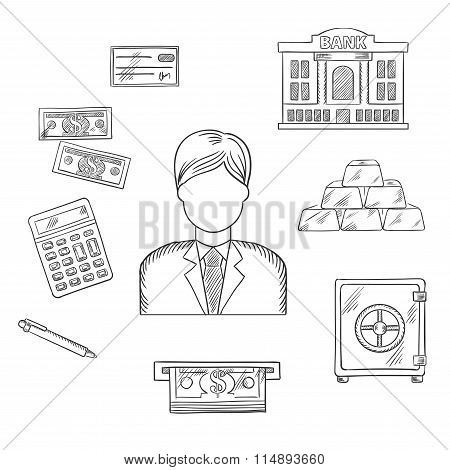 Banking, economy and finance sketched icons