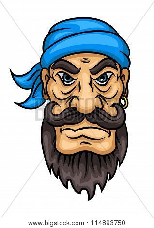 Cartoon bearded pirate sailor or captain