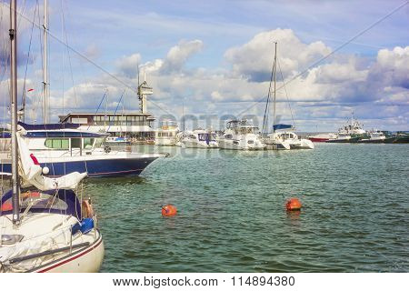 Many White Boats And Yachts In The Quay