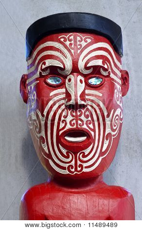 Carved and Tattooed Maori Face Painted Traditional Red