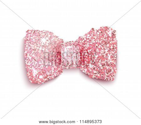 Sparkling Pink Glitter Decorated Bow For A Baby Girl