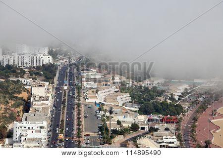 Agadir view when fog from Atlantic ocean is coming