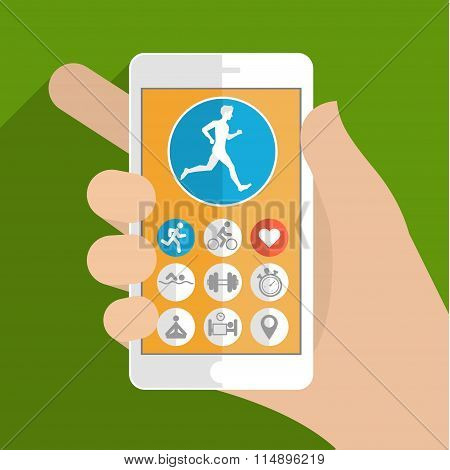 Fitness app concept on touchscreen
