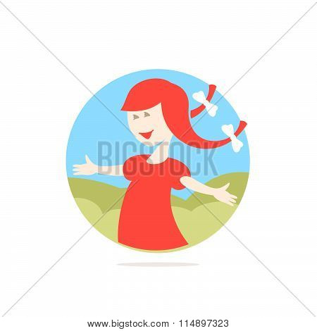 Cute Girl With Red Hair Illustration In A Circle.