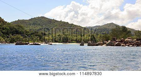 Huge granite boulders on Praslin Island in Indian Ocean.