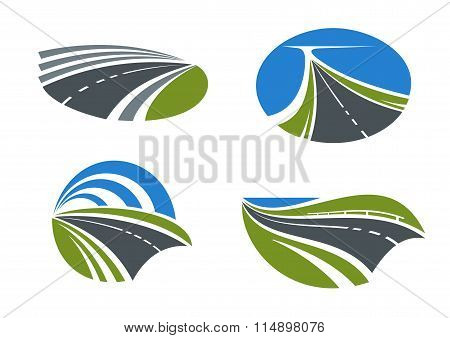 Roads and highways icons with nature landscapes