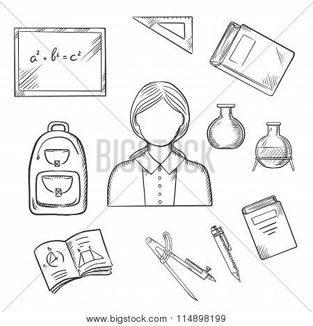 School teacher with education sketch icons