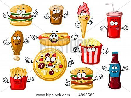 Cartoon fast food, desserts and drinks
