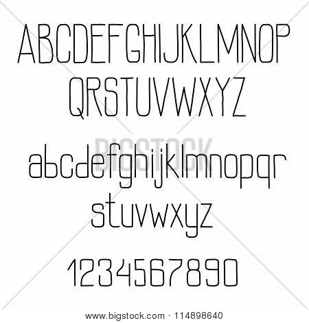 Retro alphabet with tiny lines letters