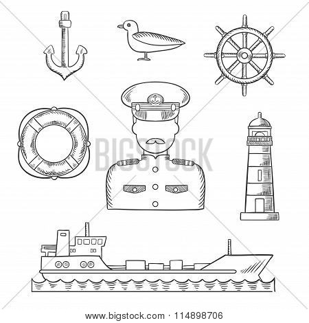 Sailor, seaman and captain profession design