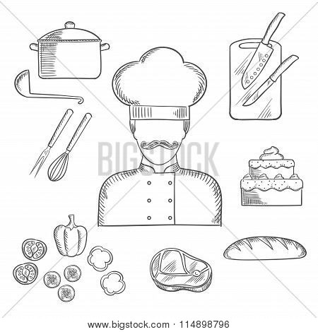 Cook or baker profession hand drawn elements
