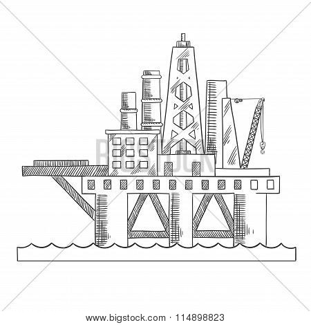 Sea platform drilling offshore oil