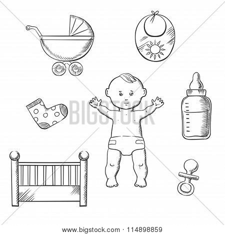 Baby sketch design with toys and objects