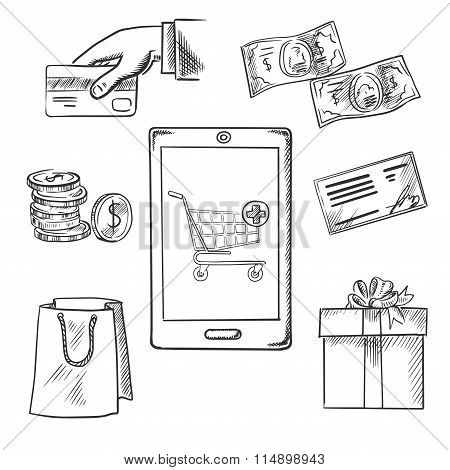 E-commerce and shopping sketch icons