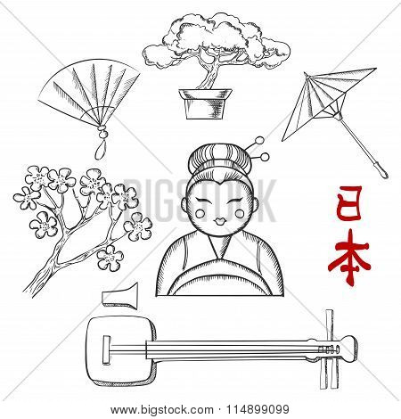 Japanese travel and cultural sketch icons