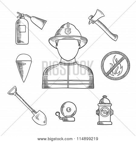 Firefighter profession hand drawn sketch icons