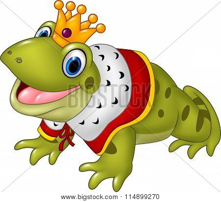Cute frog king isolated on white background