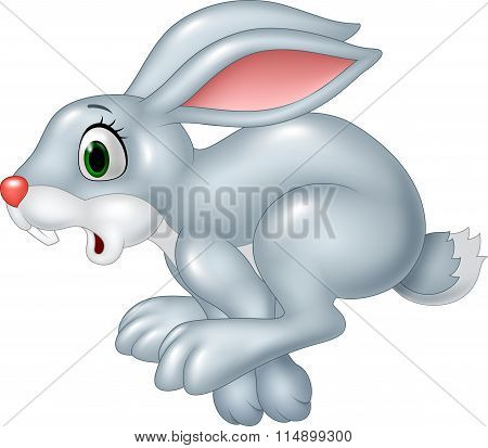 Cartoon funny panic bunny running isolated on white background