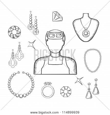Jeweler or goldsmith with jewelries, sketch style