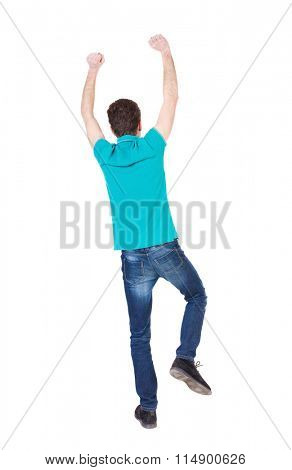 Back view of  man.  Raised his fist up in victory sign.   Rear view people collection.  backside view of person.  Isolated over white background. guy happily waving his hands and feet.