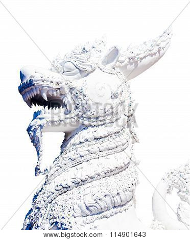 Statue Of Imaginary Creatures Isolated On White Background