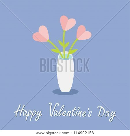 Bouquet Of Pink Heart Flowers In A Vase. Happy Valentines Day. Flat Design. Rose Quartz Serenity Col