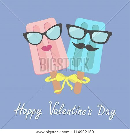 Funny Ice Cream Couple With Lips, Mustaches And Eyeglasses. Bow On Sticks. Happy Valentines Day. Lov