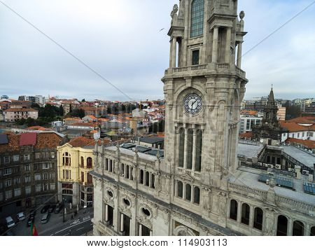 Aerial View of City hall in Porto, Portugal