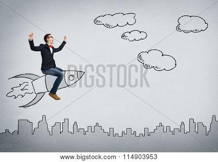 Man ride rocket