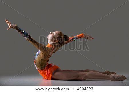 Dancer Girl Doing Backbend Gymnastics Exercise