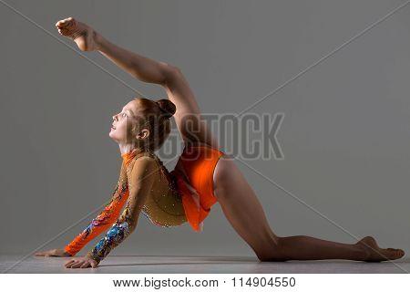 Dancer Girl Doing Backbend Gymnastics Posture