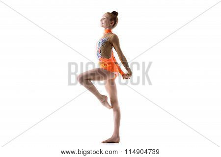 Teenage Ballerina Girl Working Out