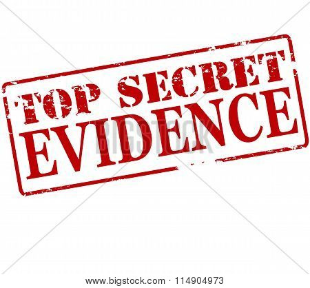 Rubber stamp with text top secret evidence inside vector illustration